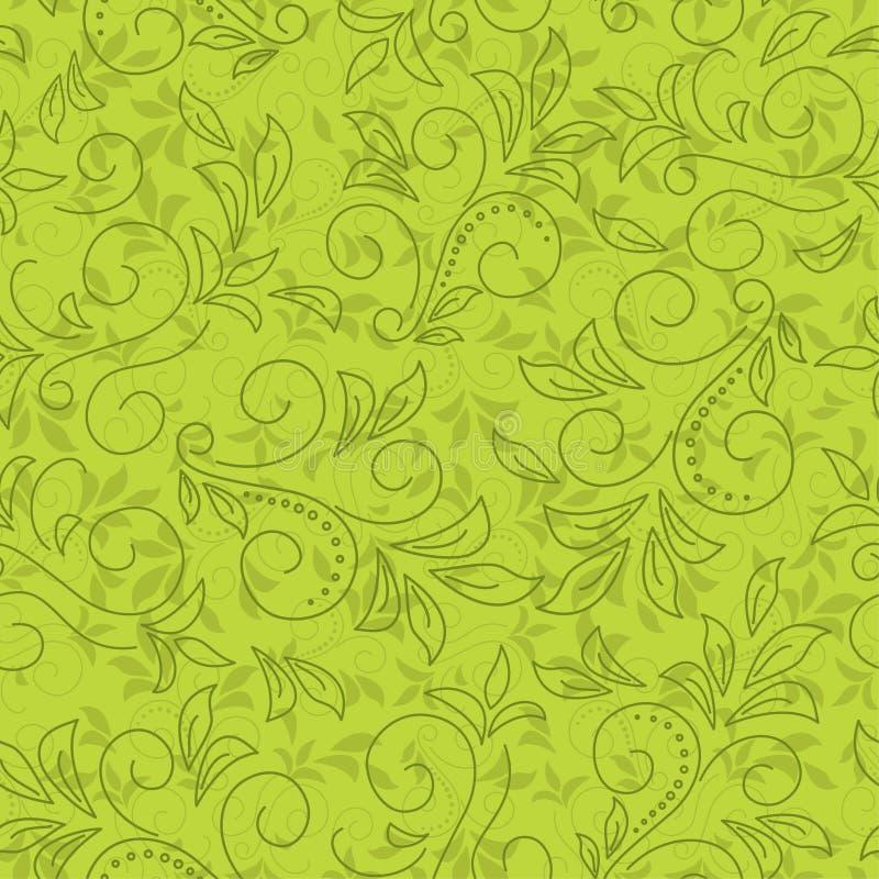seamless blom- grön modell royaltyfri illustrationer