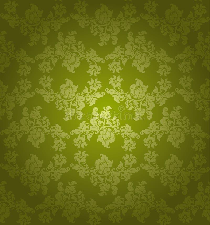 seamless blom- grön prydnad stock illustrationer