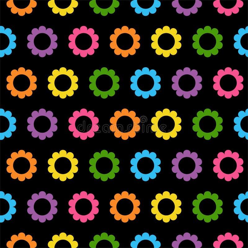 seamless blom- modell blom- abstrakt bakgrund svarta ljusa blommor f?r bakgrund royaltyfri illustrationer
