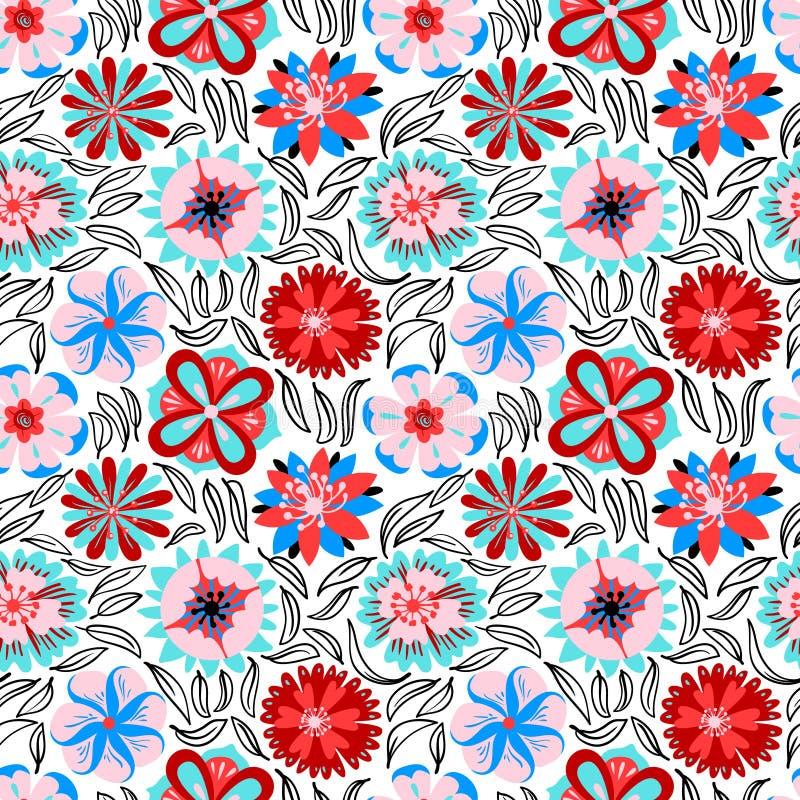 seamless blom- modell Bakgrund med abstrakt begreppblommor och le stock illustrationer