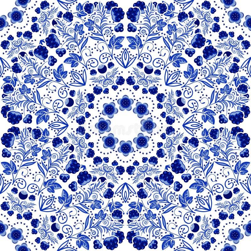 seamless blom- modell Blå prydnad av bär och blommor i stilen av kinesisk målning på porslin royaltyfri illustrationer