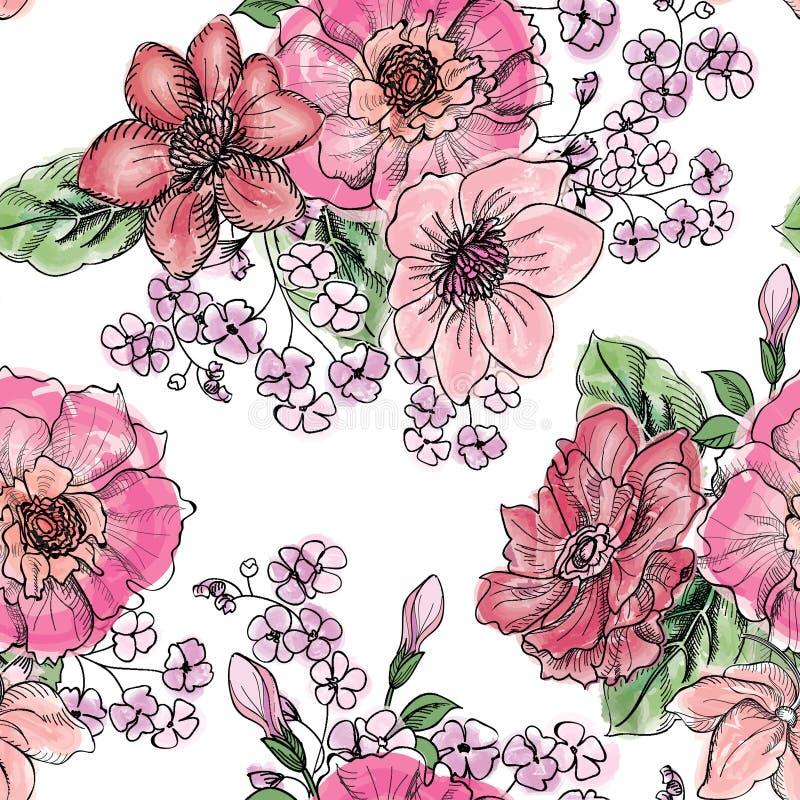 seamless blom- modell Blommabukettbakgrund stock illustrationer