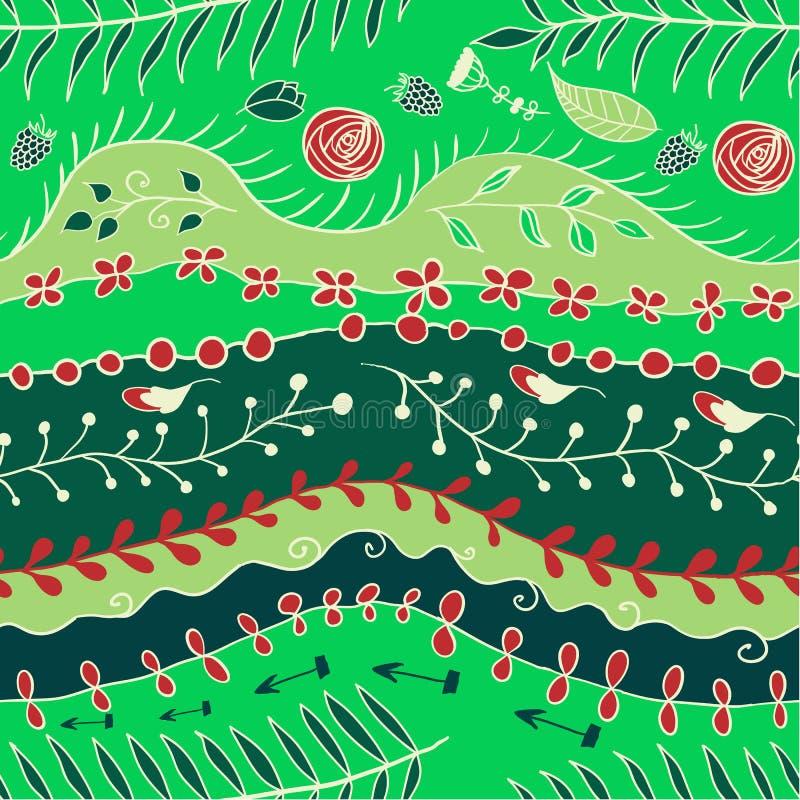 seamless blom- modell branches ändlöst också vektor för coreldrawillustration royaltyfri illustrationer