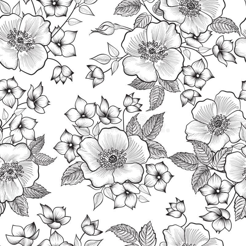 seamless blom- modell Den abstrakta blomman skissar bakgrund flor royaltyfri illustrationer