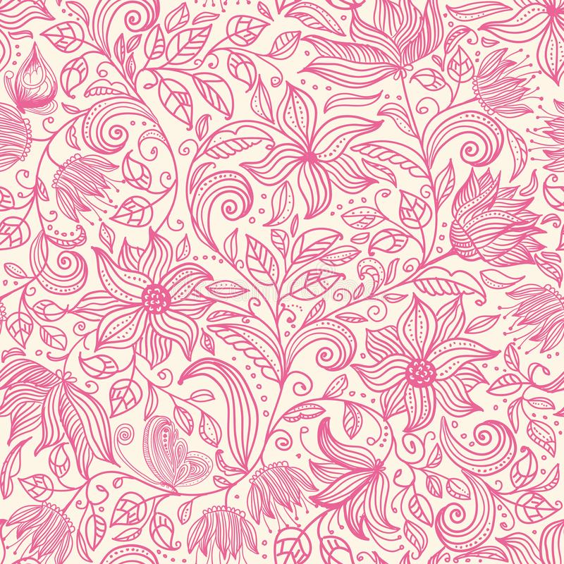 seamless blom- modell Den färgrika bakgrundstapetillustrationen med tappningsommarblommor lämnar och prydnader Vektortextu vektor illustrationer