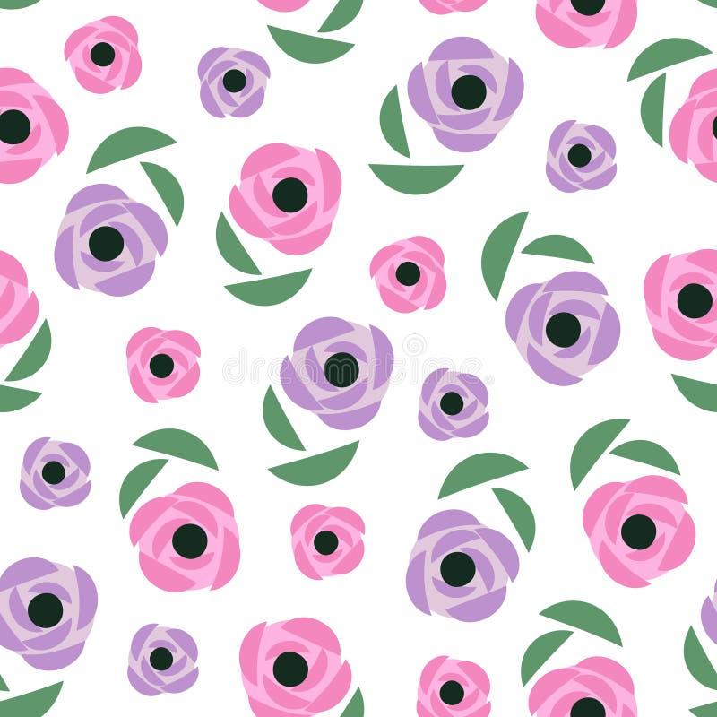 seamless blom- modell Den gulliga våren blommar bakgrund - smörblommor, vallmo, ranunculus Dekorativ blommatextur royaltyfri illustrationer