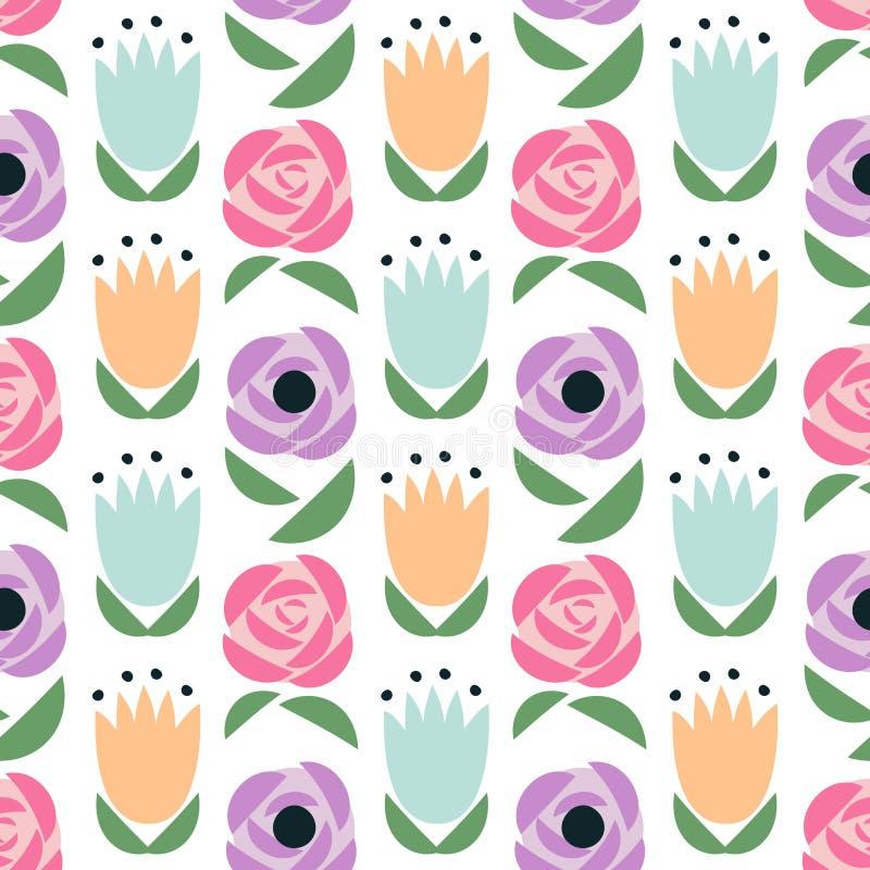 seamless blom- modell Den gulliga våren blommar bakgrund - tulpan, rosor, smörblommor, vallmo stock illustrationer