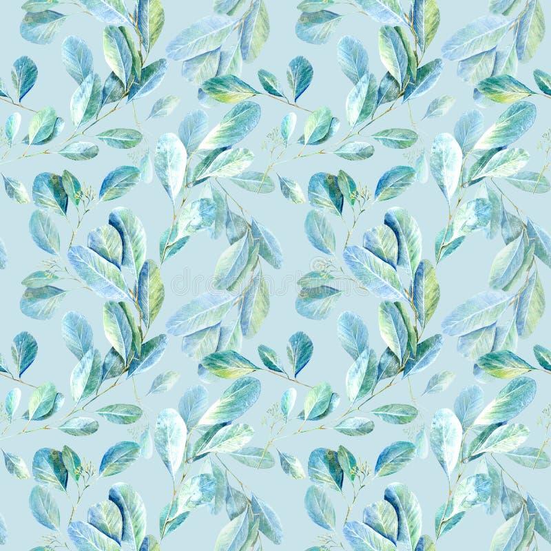 seamless blom- modell Eukalyptusfilialer Avbilda för tyg, papper och andra printing och rengöringsdukprojekt vektor illustrationer