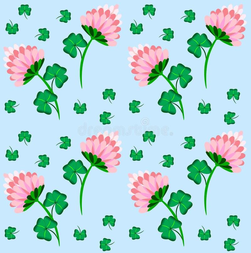 seamless blom- modell för skönhetväxt av släkten Trifolium stock illustrationer