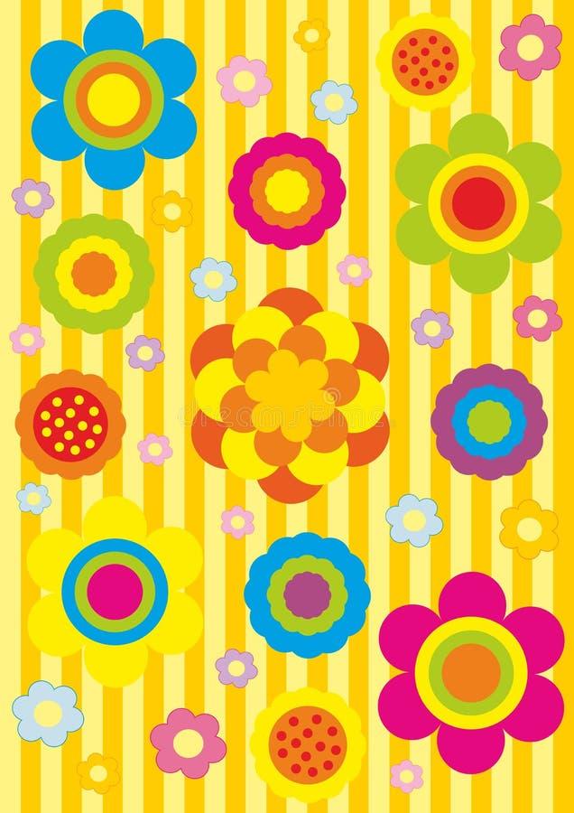 seamless blom- modell för tecknad film royaltyfri illustrationer