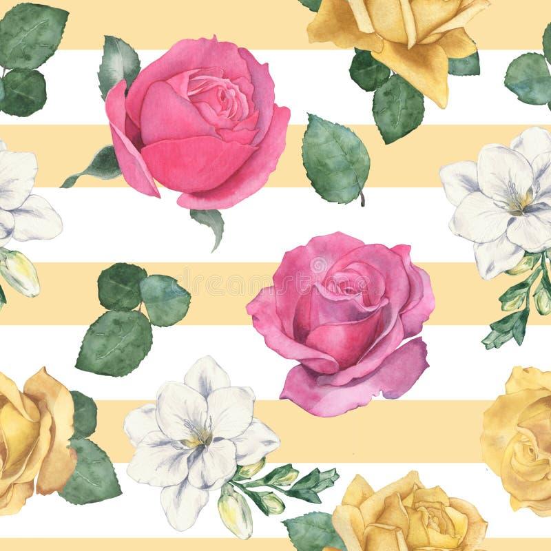 1 seamless blom- modell f?r flygillustration f?r n?bb dekorativ bild dess paper stycksvalavattenf?rg hand-teckning royaltyfri illustrationer