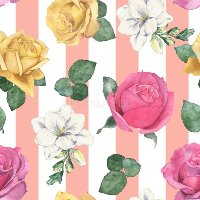 seamless blom- modell 3 f?r flygillustration f?r n?bb dekorativ bild dess paper stycksvalavattenf?rg hand-teckning vektor illustrationer