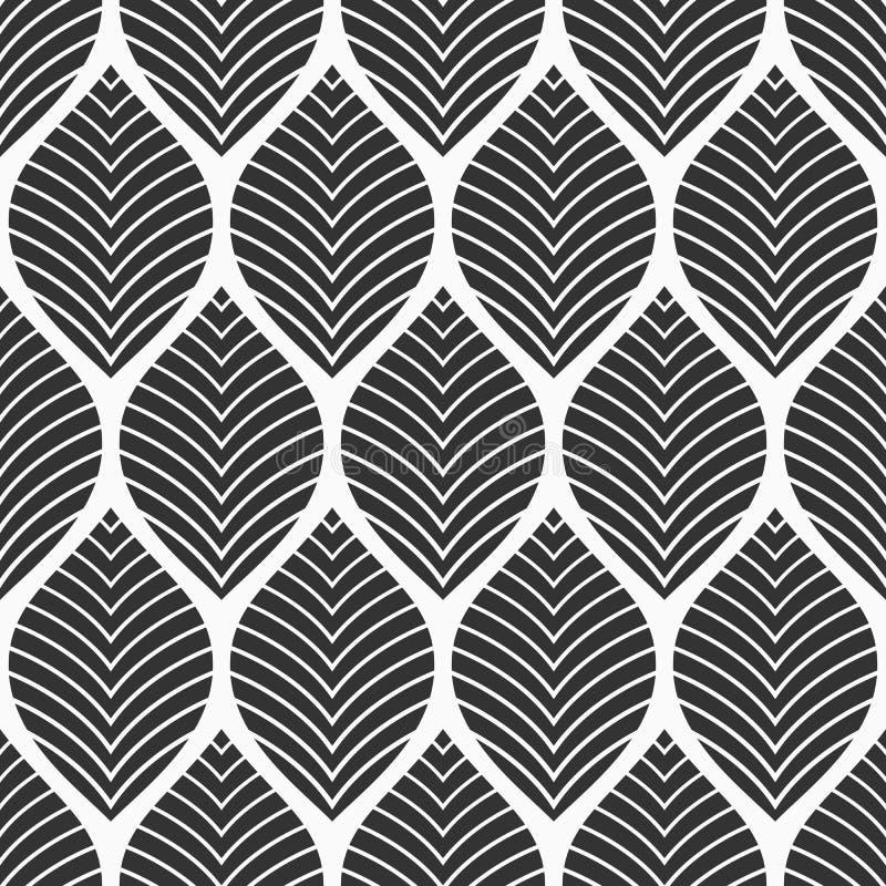 seamless blom- modell Geometrisk textur som g?ras av sidor Vektormonokrombakgrund stock illustrationer