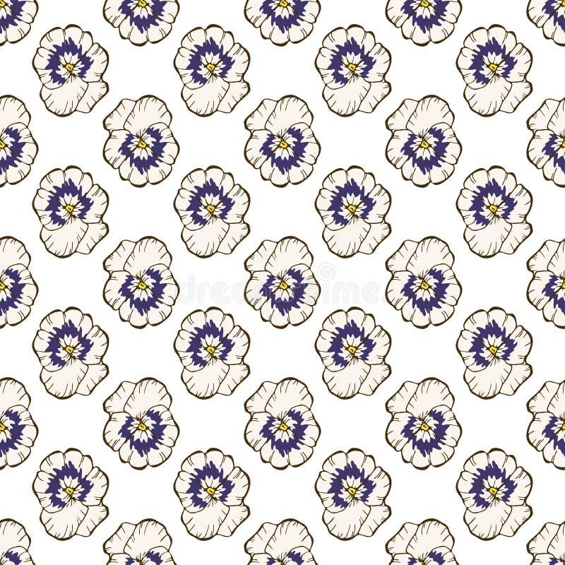 seamless blom- modell Härliga penséblommaknoppar på en vit Utdragen vektorbakgrund för abstrakt hand vektor illustrationer