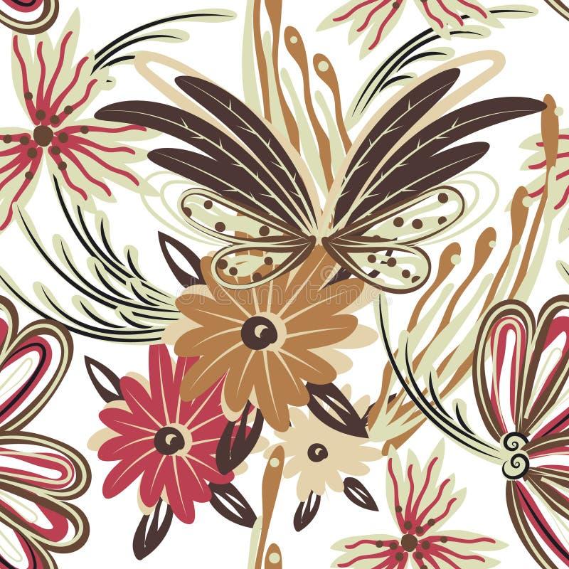seamless blom- modell Hand dragen idérik blomma Färgrik konstnärlig bakgrund med blomningen Abstrakt ört royaltyfri illustrationer