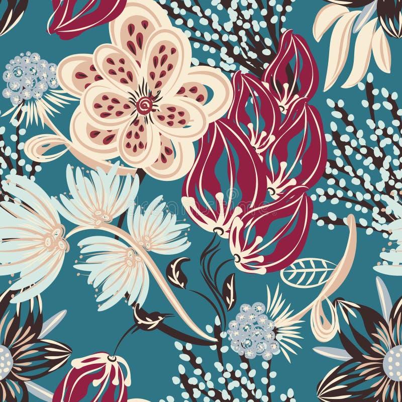 seamless blom- modell Hand dragen idérik blomma Färgrik konstnärlig bakgrund med blomningen Abstrakt ört stock illustrationer