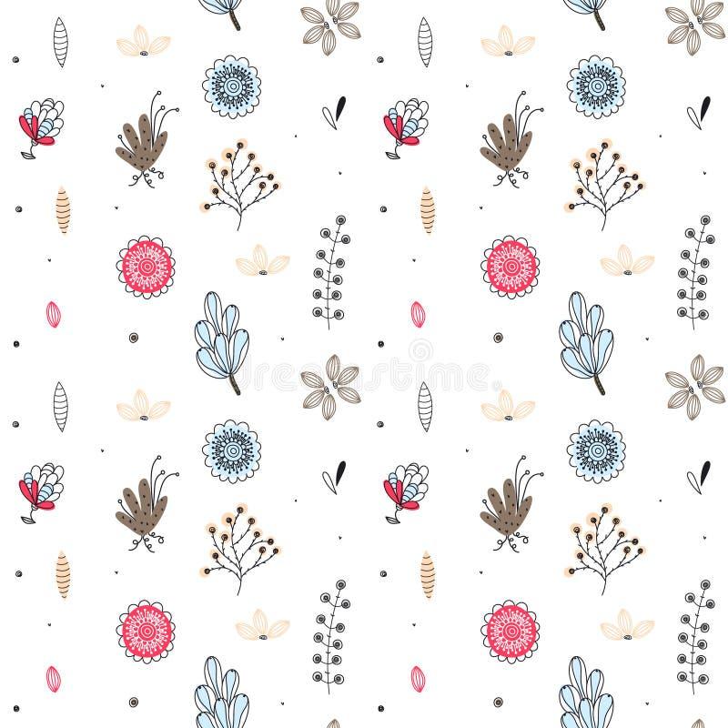 seamless blom- modell Hand drog idérika blommor Färgrik konstnärlig bakgrund med blomningen Abstrakt ört stock illustrationer
