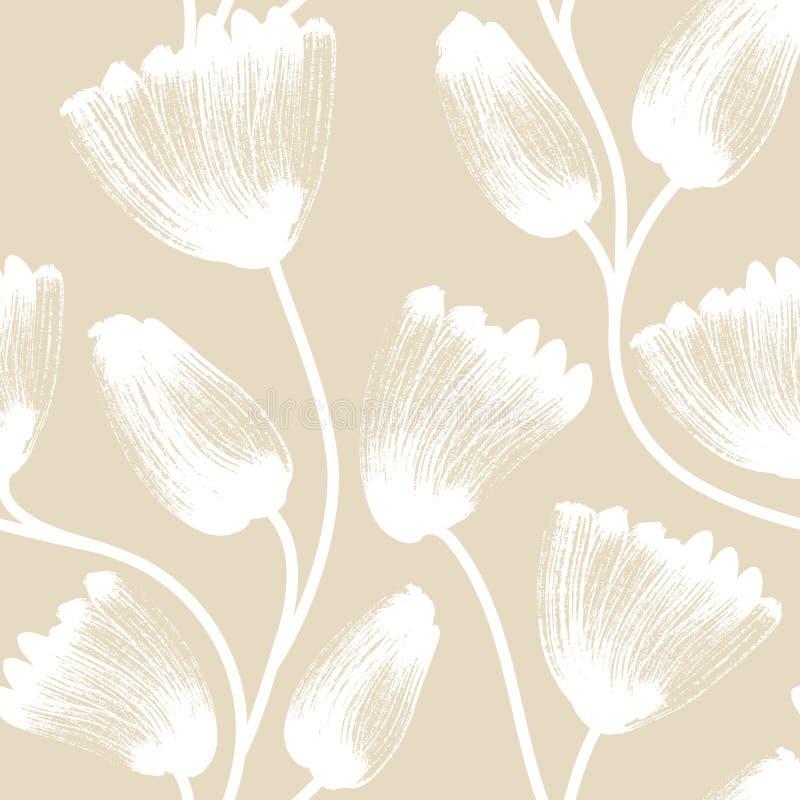 seamless blom- modell Hand drog idérika blommor konstnärlig bakgrund Abstrakt ört Fläck av målarfärg royaltyfri illustrationer