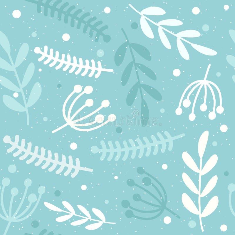 seamless blom- modell Kvistar av växter Ljust på en blå bakgrund vektor illustrationer