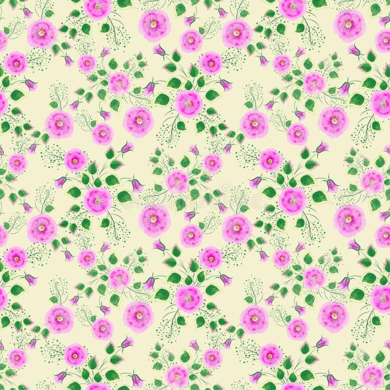 seamless blom- modell Ljusa rosa rosor på gul bakgrund royaltyfri illustrationer