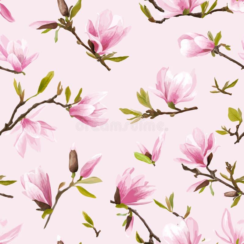 seamless blom- modell Magnoliablomma- och sidabakgrund royaltyfri illustrationer