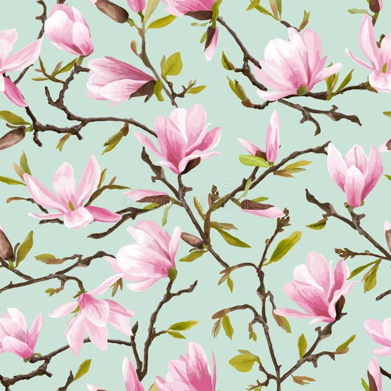 seamless blom- modell Magnoliablomma- och sidabakgrund stock illustrationer