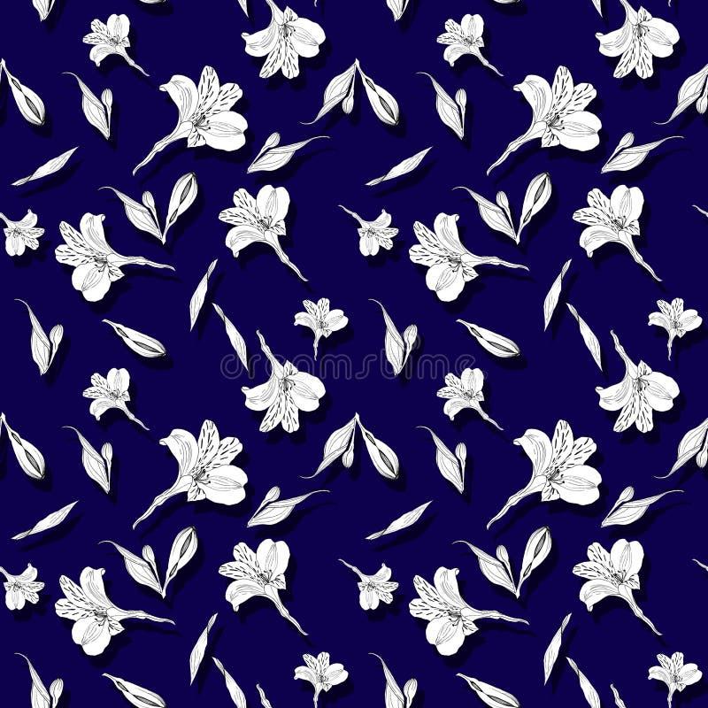 seamless blom- modell Modell med färgpulverdiagramblommor på mörkt - blå bakgrund Alstroemeria S?ml?s modell med royaltyfri illustrationer