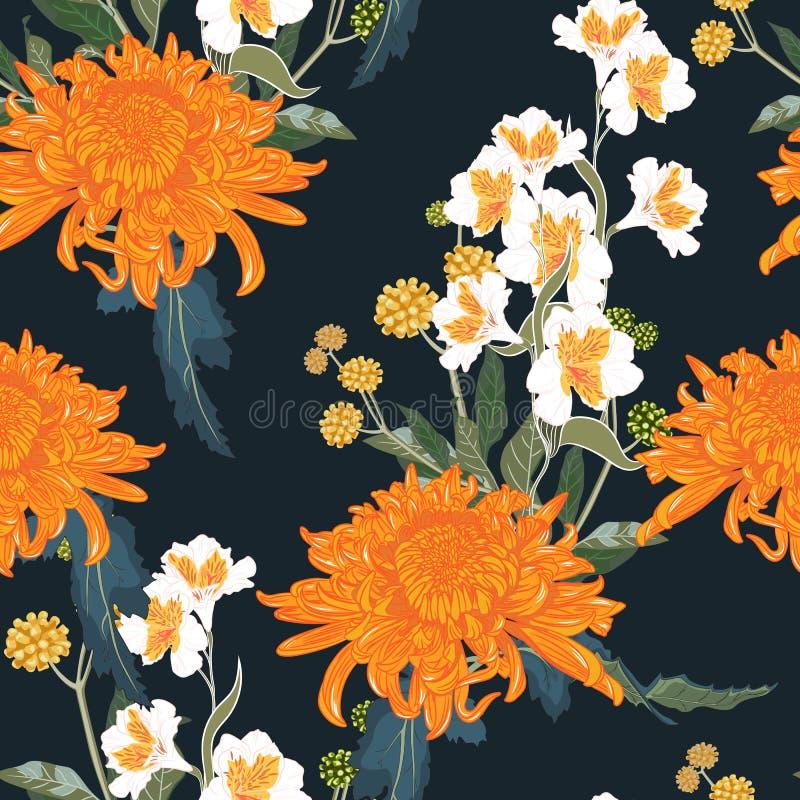 seamless blom- modell Orange japansk nationell blommakrysantemum och örter stock illustrationer
