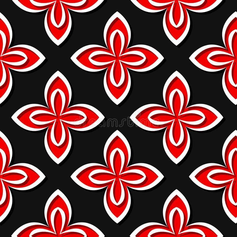 seamless blom- modell Röda och svarta designer 3d stock illustrationer