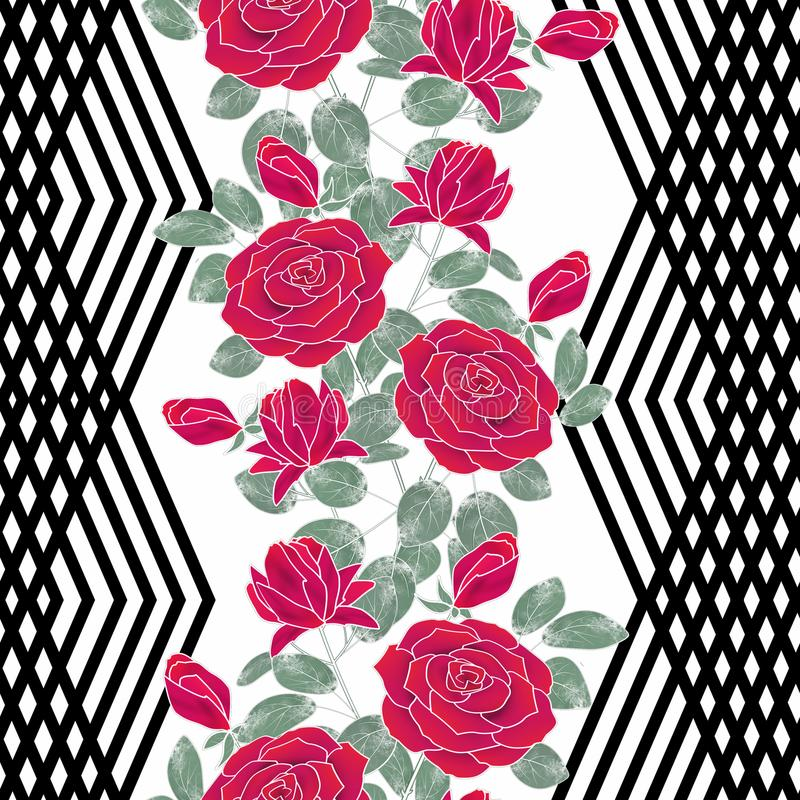 seamless blom- modell Röda rosor på svartvit bakgrund stock illustrationer