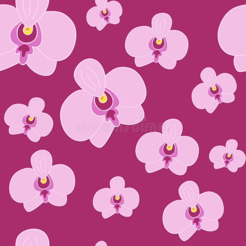 seamless blom- modell Rosa Orchid royaltyfri illustrationer
