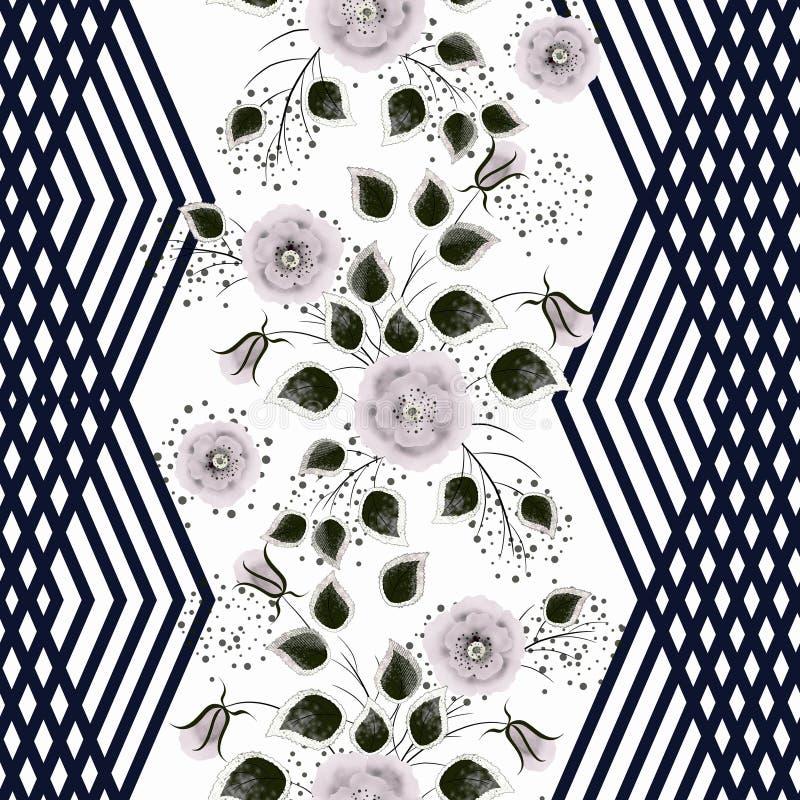 seamless blom- modell Rosaaktiga gråa blommor på en vit bakgrund med lodlinjesvartband royaltyfri illustrationer
