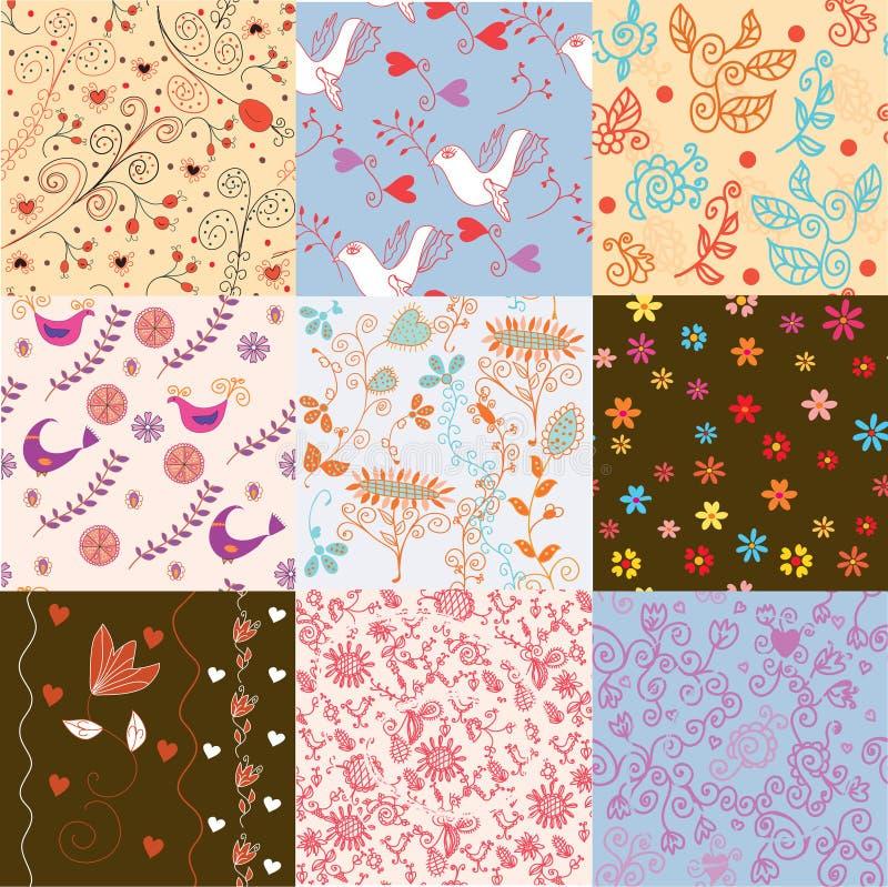 Seamless blom- modell som ställs in för gulliga wallpapers vektor illustrationer