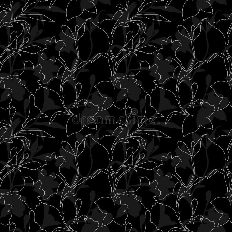 seamless blom- modell Svartvit modell med konturdiagramblommor på svart bakgrund Alstroemeria vektor illustrationer