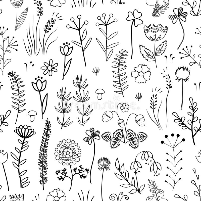 seamless blom- modell Tappningbakgrund med olikt klotter planterar och blommar stock illustrationer