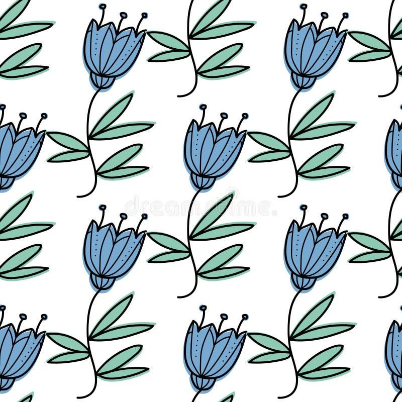 seamless blom- modell Traditionell stil för grafisk design Blått sätta en klocka på royaltyfri illustrationer