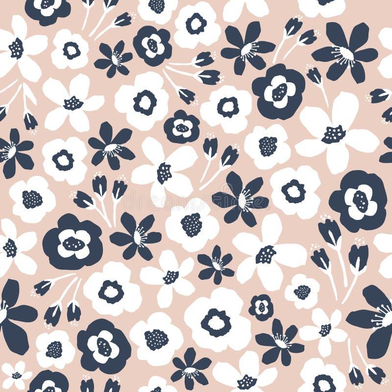 seamless blom- modell Utdragen digital illustration f?r hand Näcka färger med vita och blåa blommor royaltyfri illustrationer