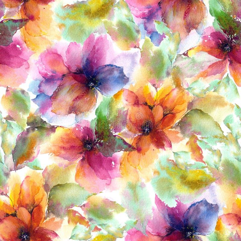 seamless blom- modell Vattenfärgen blommar bakgrund färgrika blommor stock illustrationer