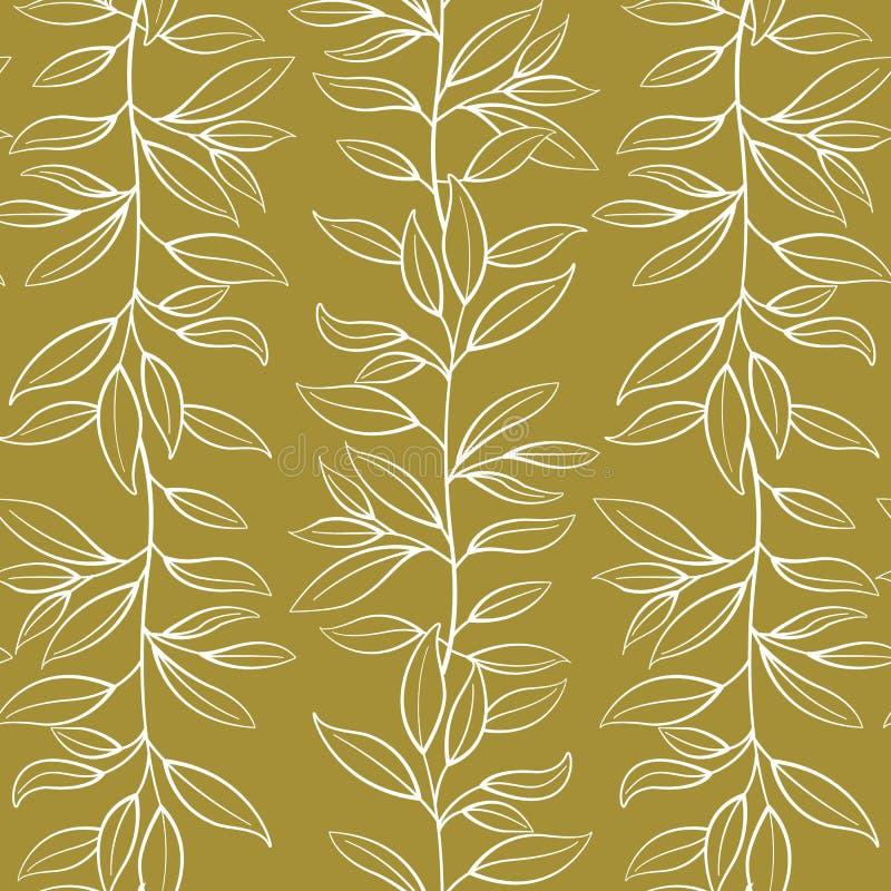 seamless blom- modell Vertikala vita filialer för vektor med sidor på guld- bakgrund royaltyfri illustrationer