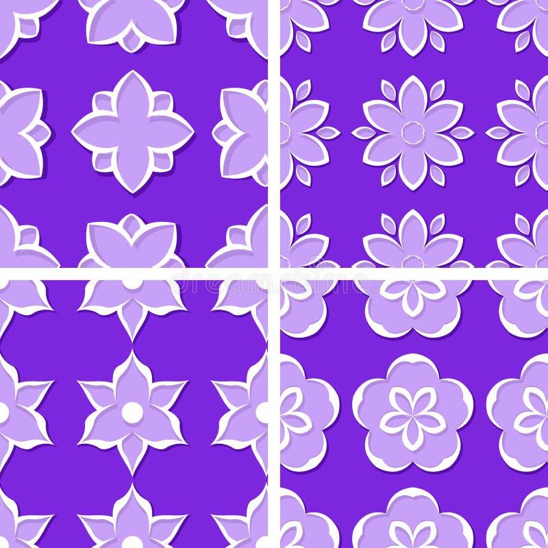 seamless blom- modeller Uppsättning av violetta bakgrunder 3d också vektor för coreldrawillustration royaltyfri illustrationer
