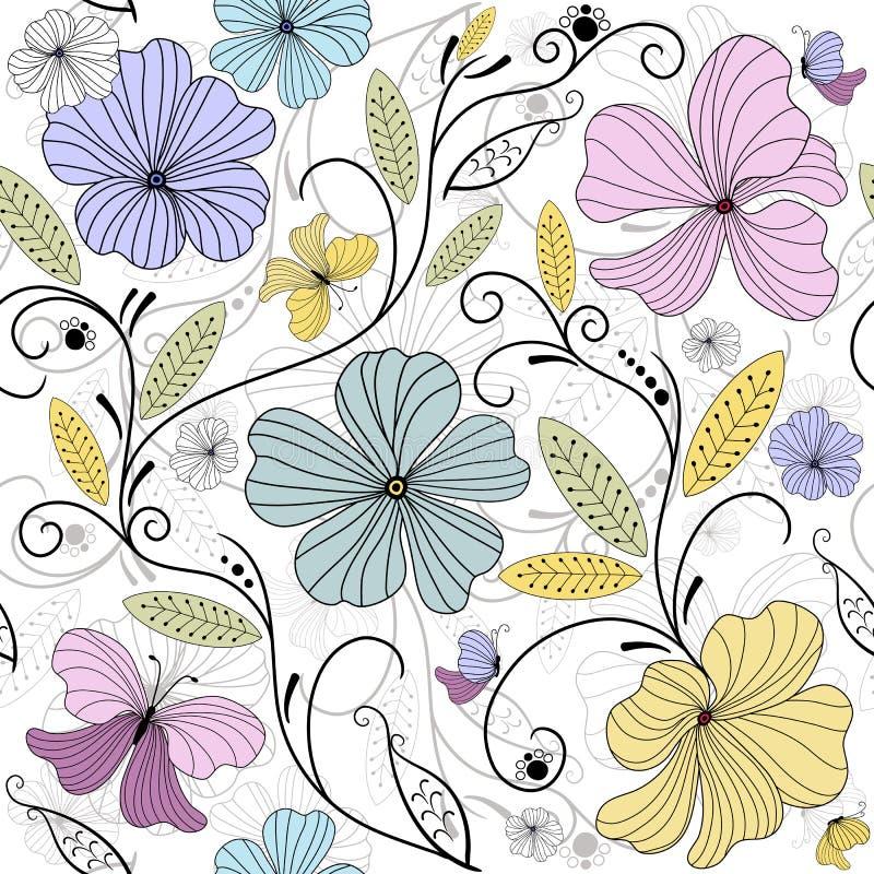 seamless blom- pastellfärgad modell stock illustrationer