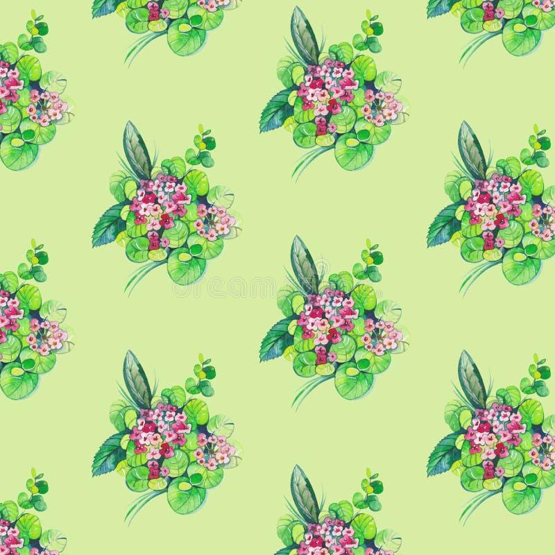 seamless blommaleavesmodell royaltyfri illustrationer