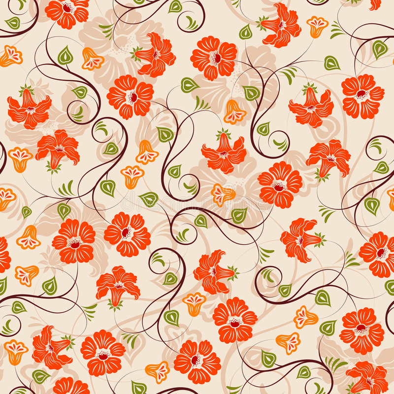 seamless blommamodell royaltyfri illustrationer