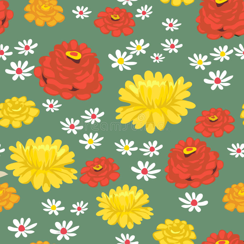 seamless blommamodell royaltyfri illustrationer