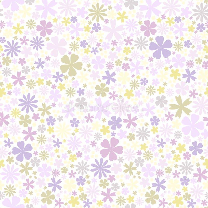 seamless blommamodell Lägenhetblommor av gräsplan- och lilafärger på vit bakgrund Gullig vektor vektor illustrationer