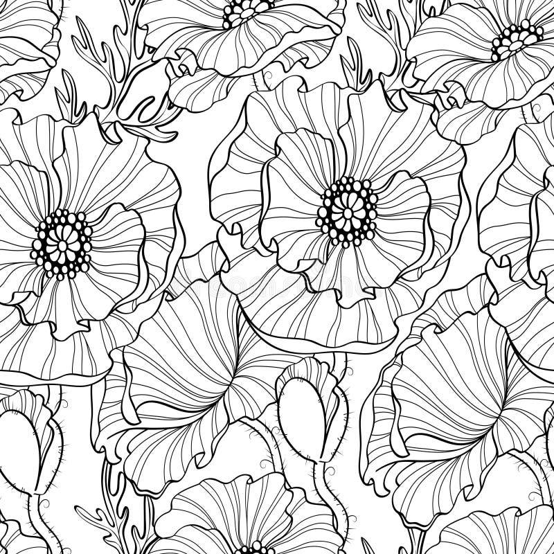 seamless blommamodellvallmo vektor för detaljerad teckning för bakgrund blom- Svartvit illustration royaltyfri illustrationer