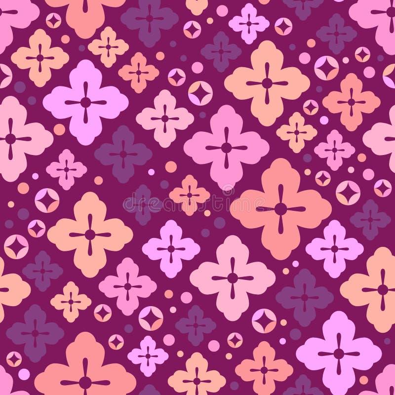 seamless blomningCherrymodell Japansakura gullig bakgrund dekorativa element royaltyfri illustrationer