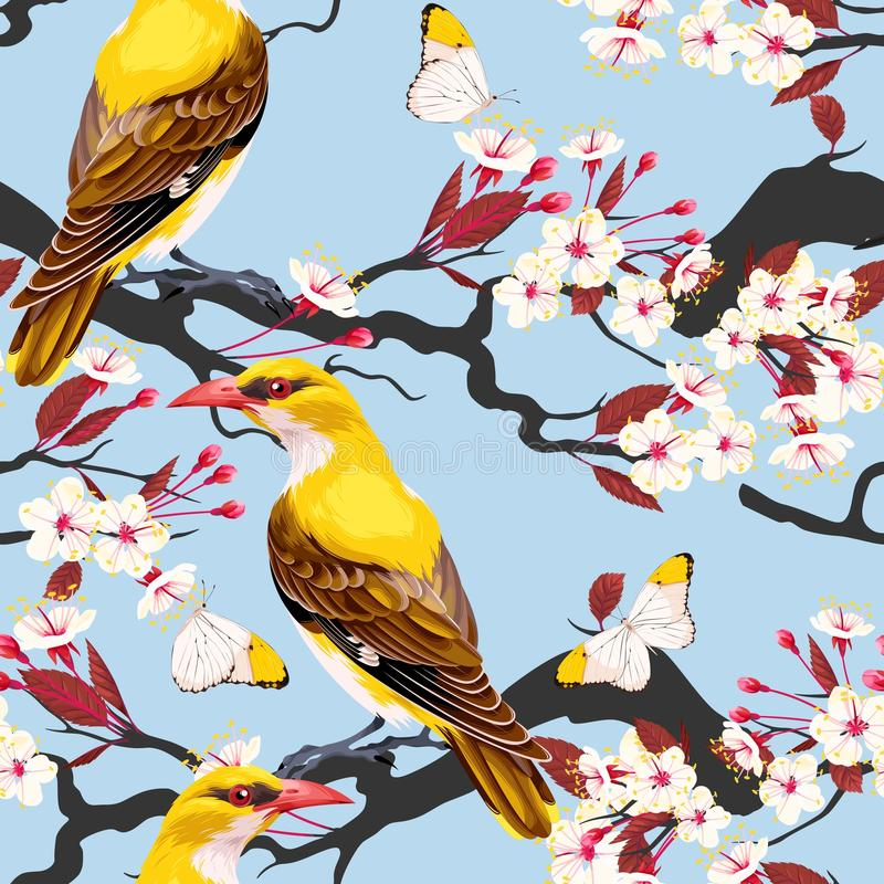 Seamless blooming cherry vector illustration