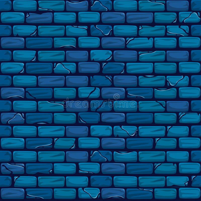 Seamless blue Brick Wall Background Texture Pattern stock illustration