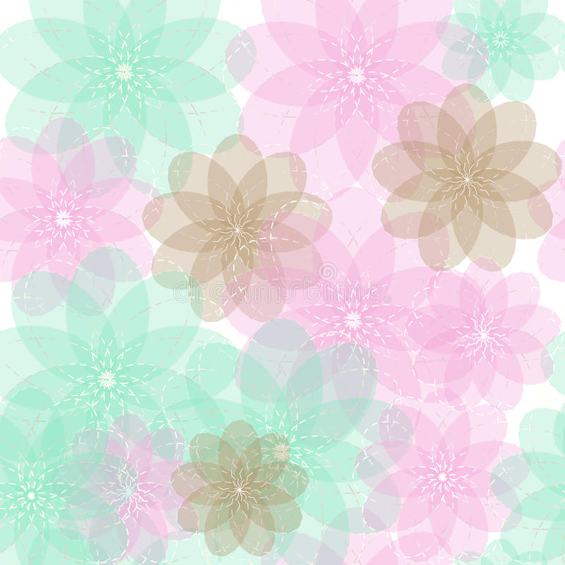 Seamless blue, brown and pink light abstract flowers with transparent background pattern royalty free illustration